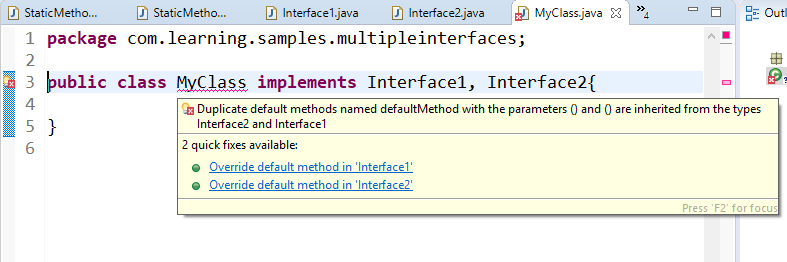 Compilation error due to conflict of common name of default method in interface